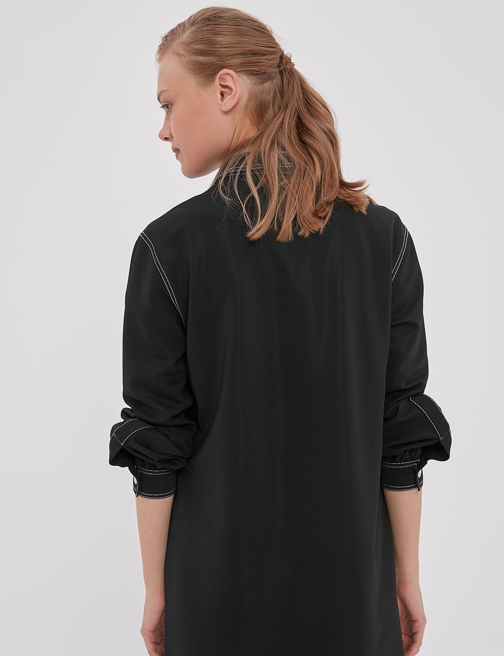 Contrast Stitching Pocket Tunic A20 21262 Black