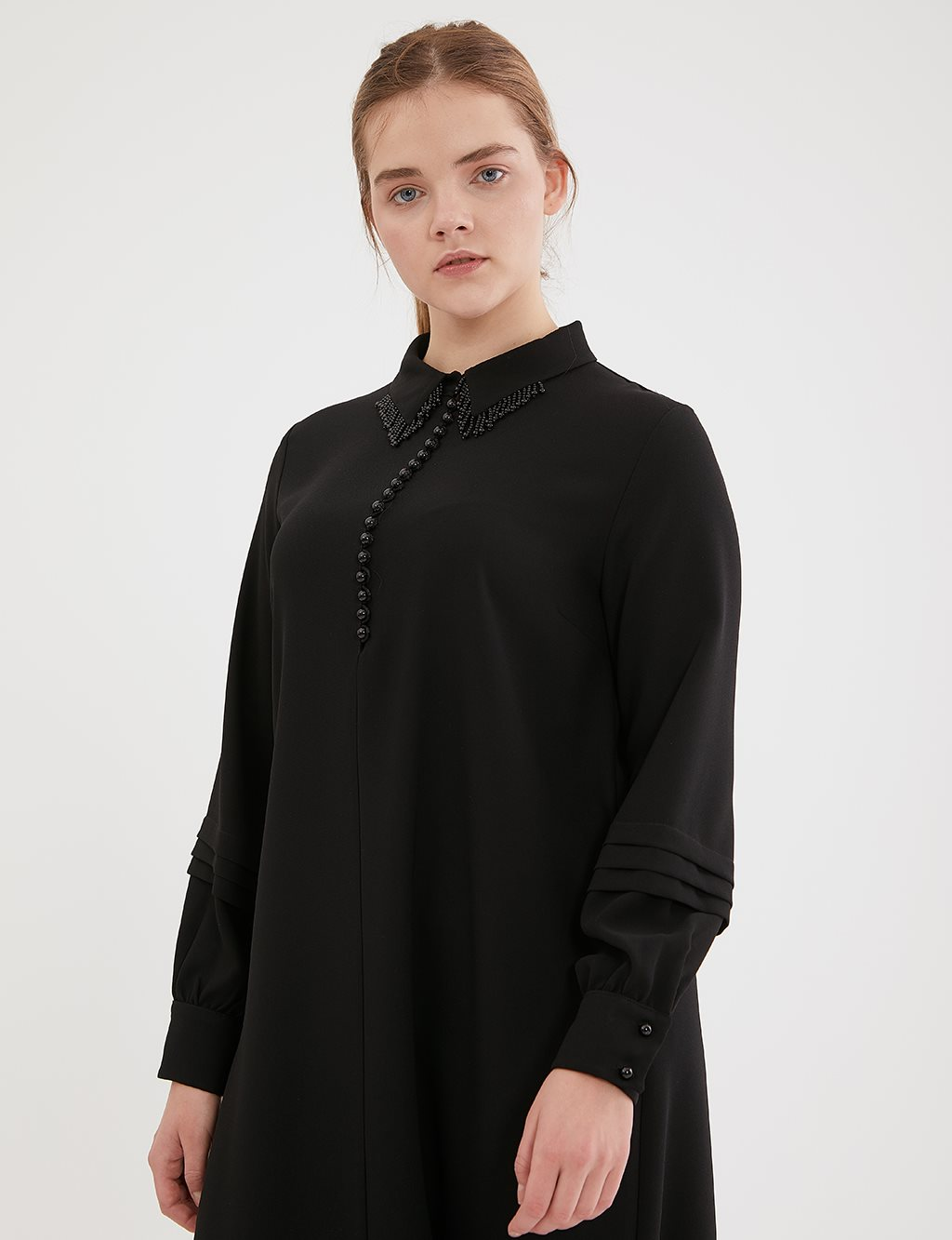 Shirt Collar Long Tunic A20 21235 Black