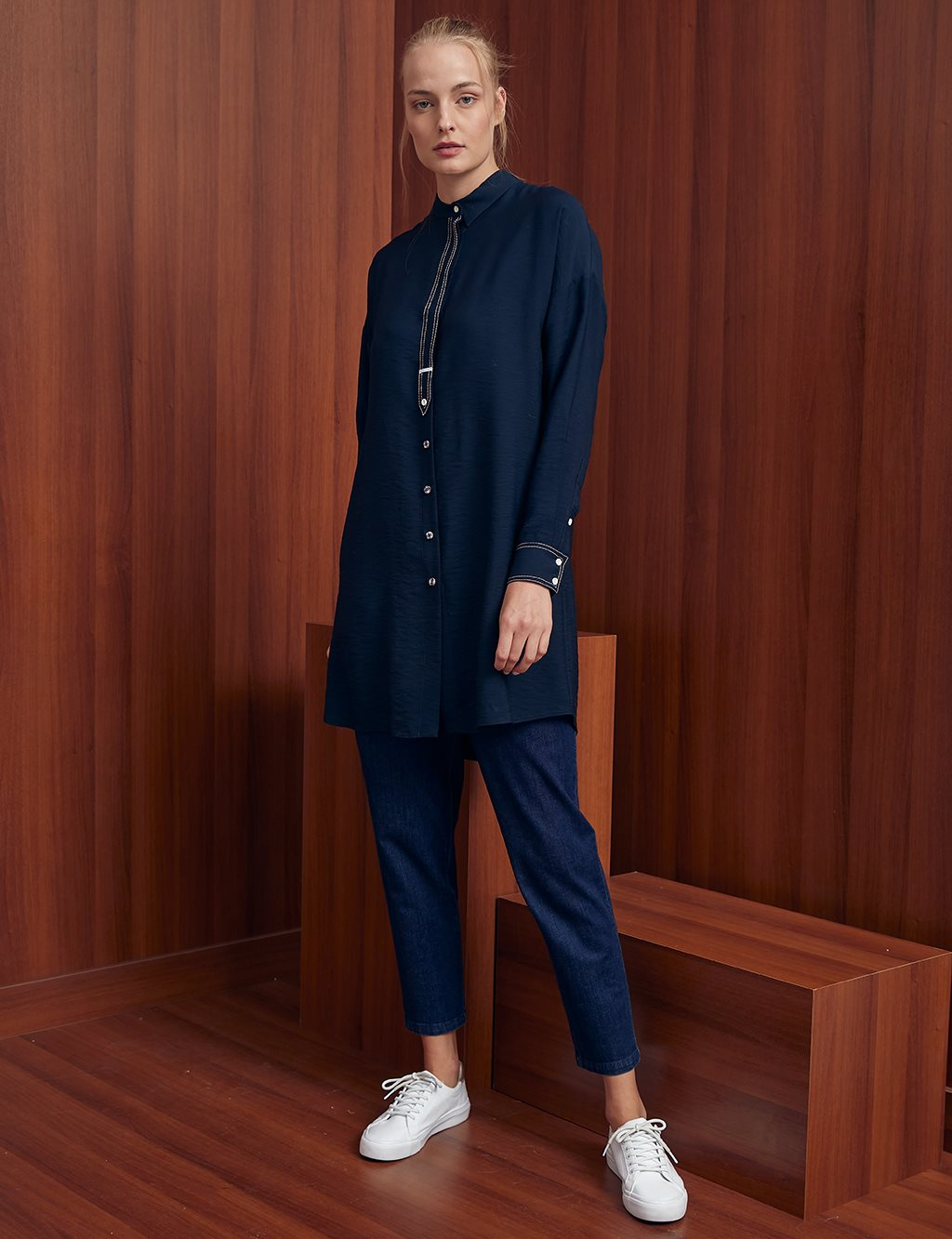 Contrast Stitching Judge Collar Tunic A20 21106 Navy