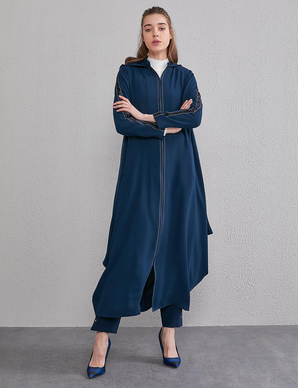 Contrast Stitching Hooded Trench Coat A20 25090 Navy