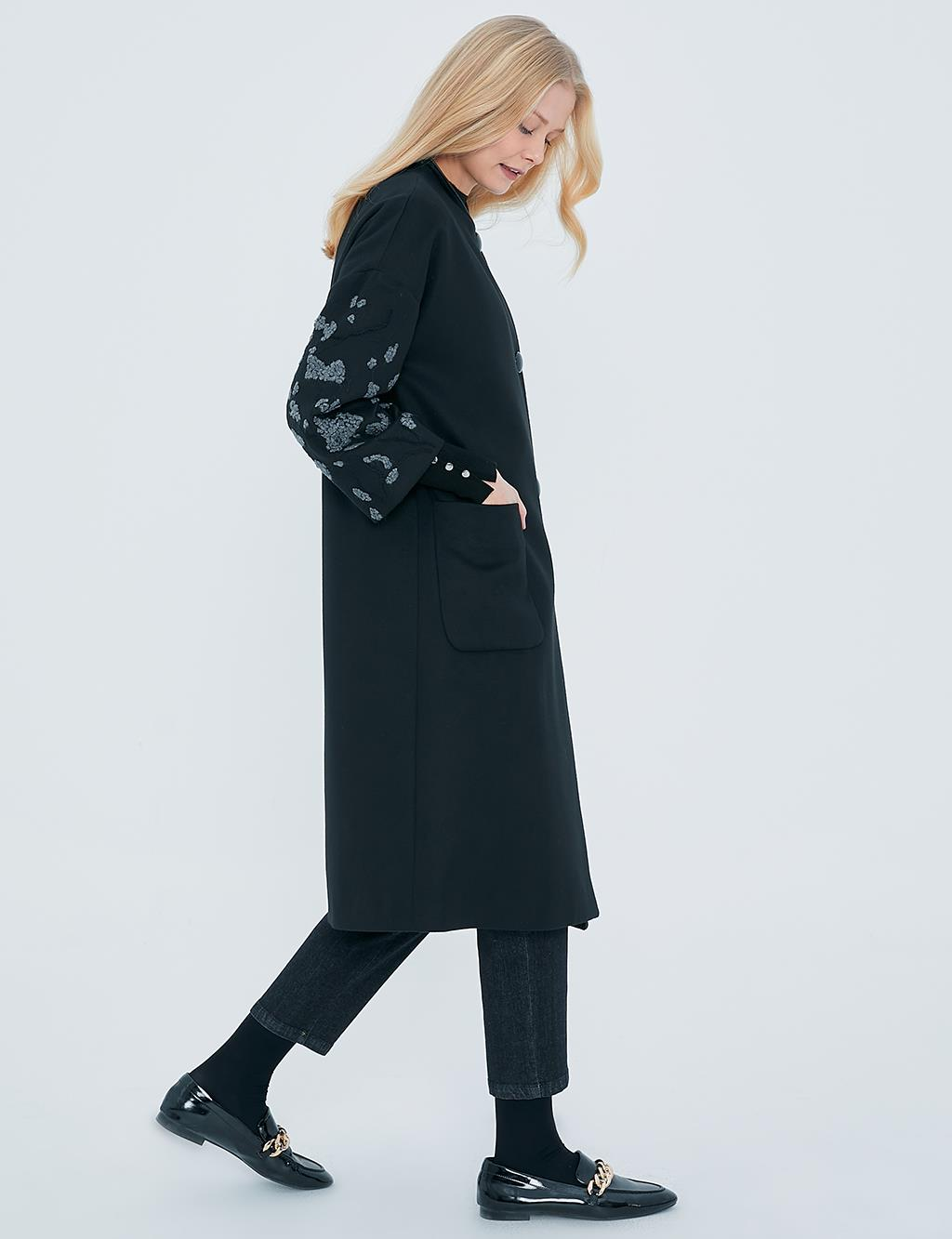 Embroidered Sleeve Pocket Coat A20 17001 Black