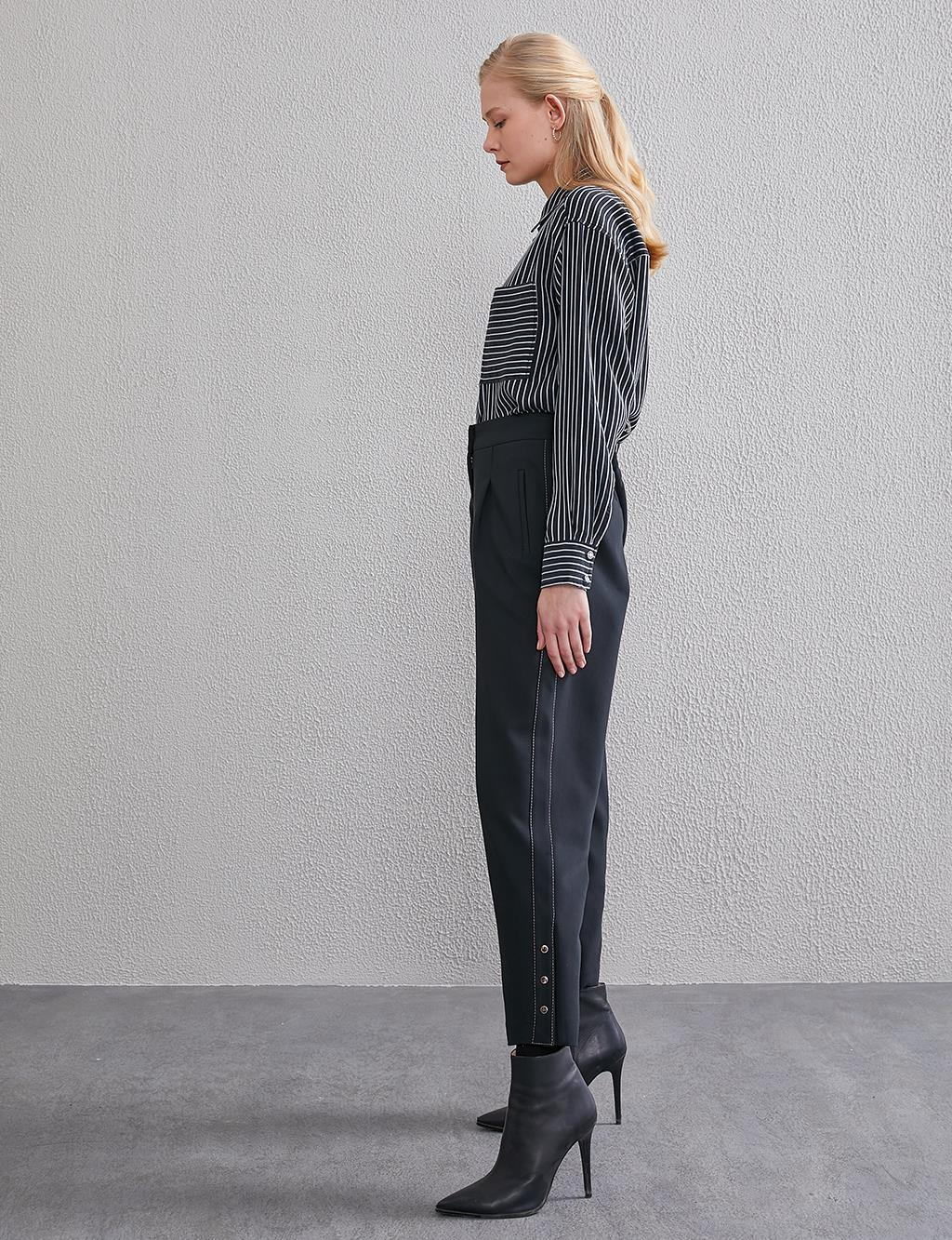 Pleated High Waist Pants A20 19121 Black