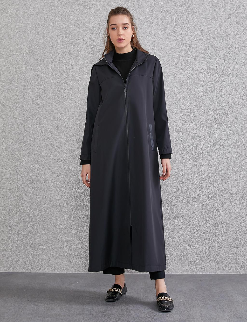 Hooded, Ribbon Detailed Trenchcoat A20 25098 Black