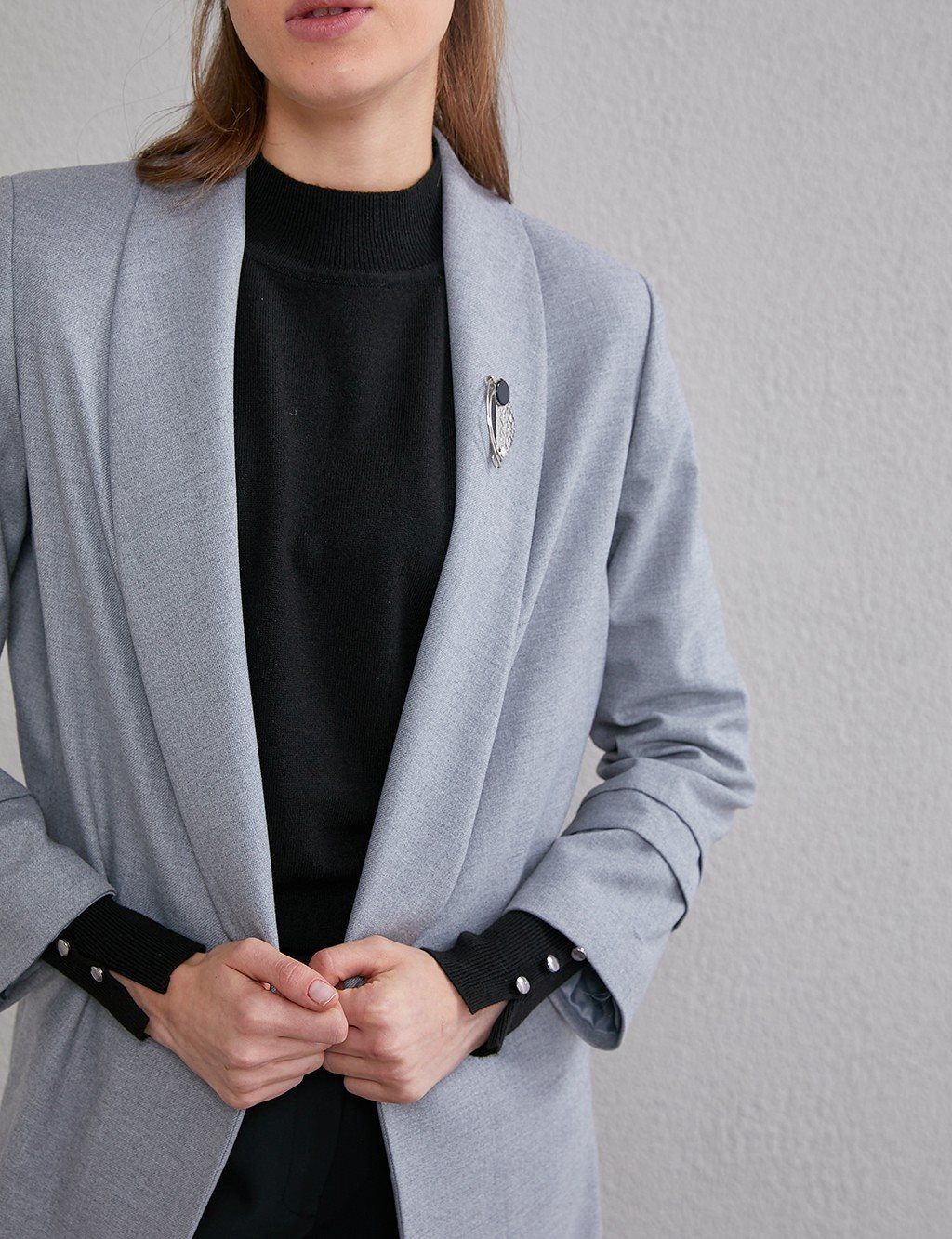 Double Breasted Collar Jacket With Badge A20 13073 Gray