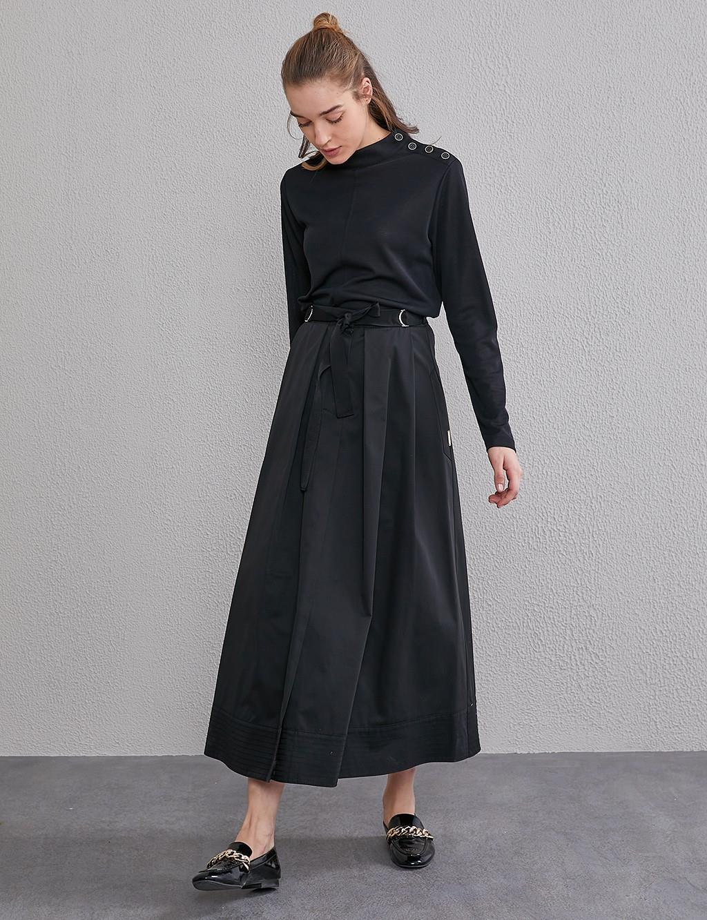Pleated Skirt With Pockets A20 12041 Black