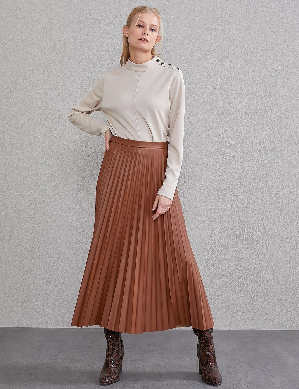 Artificial Leather Skirt A20 12038 Light Brown