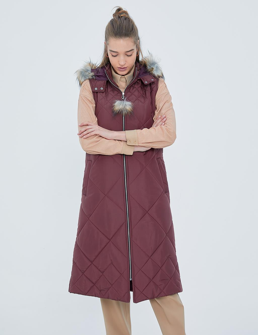 Furry and Quilted Vest A20 10022 Burgundy