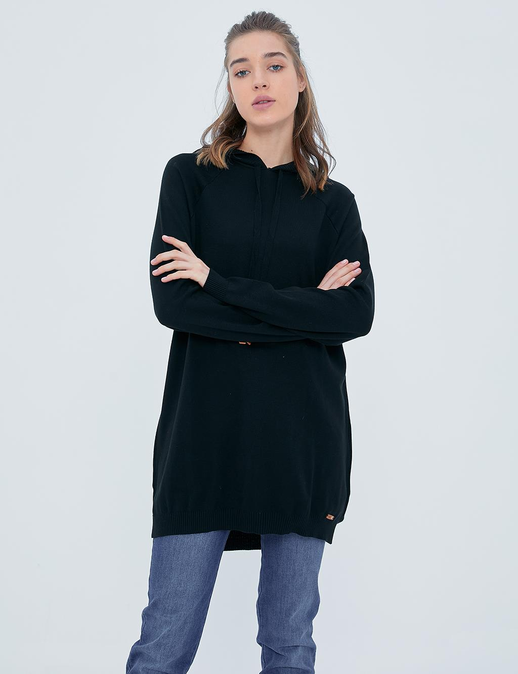 Hooded Knit Tunic A20 TRK09 Black