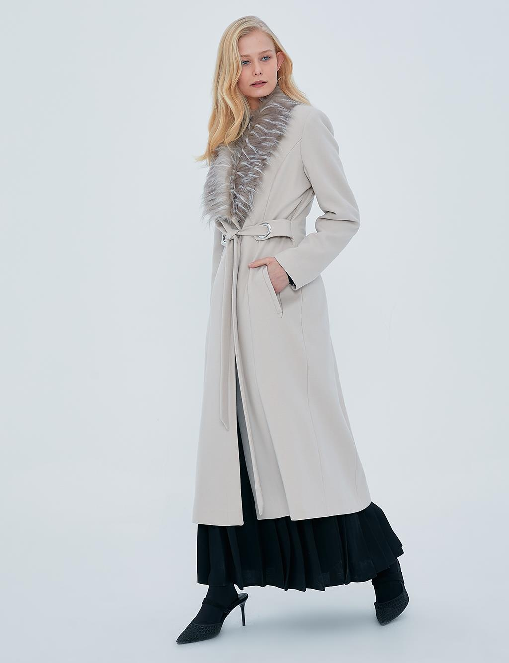 Furry Belted Coat A20 17015 Stone