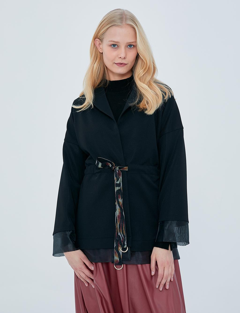 Organza Detailed Jacket Black A20 13092