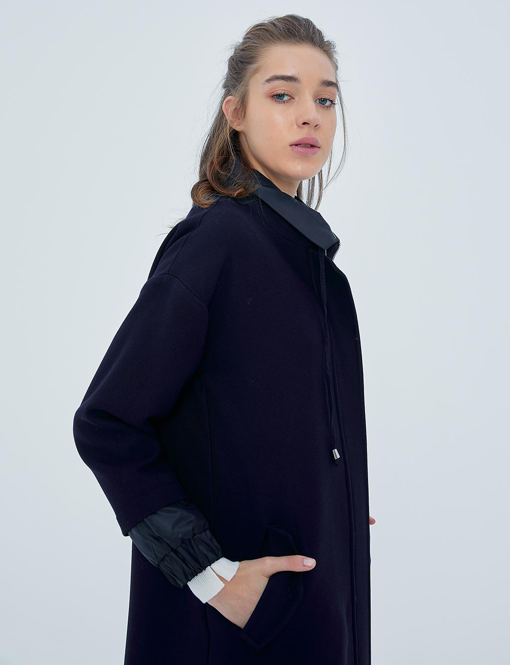 Artificial Leather Detailed Trench Coat A20 25116 Navy