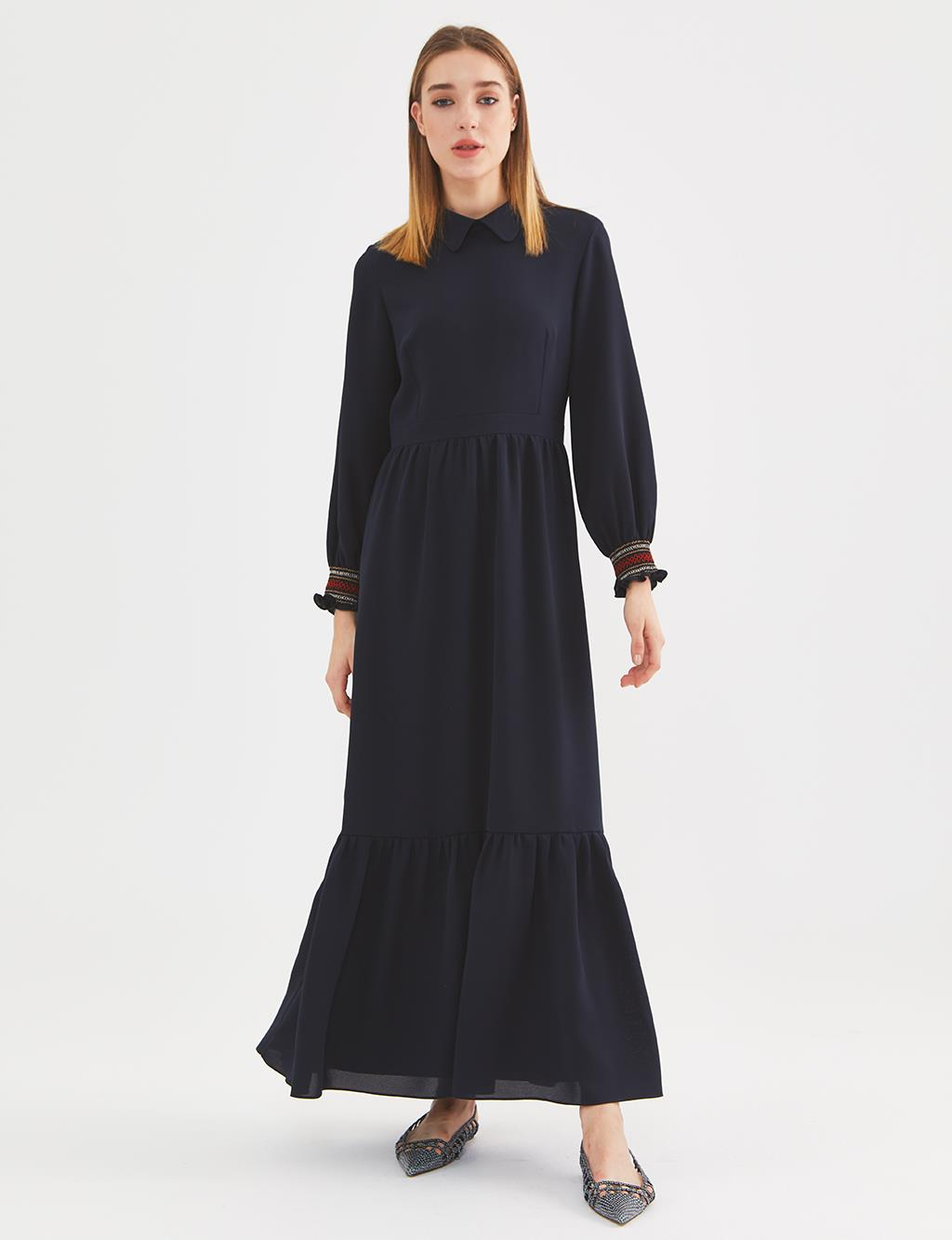 KYR Ruffled Long Dress A20 83015 Navy