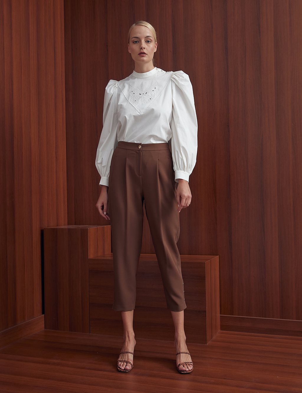 Pleated High Waist Pants A20 19121 Brown