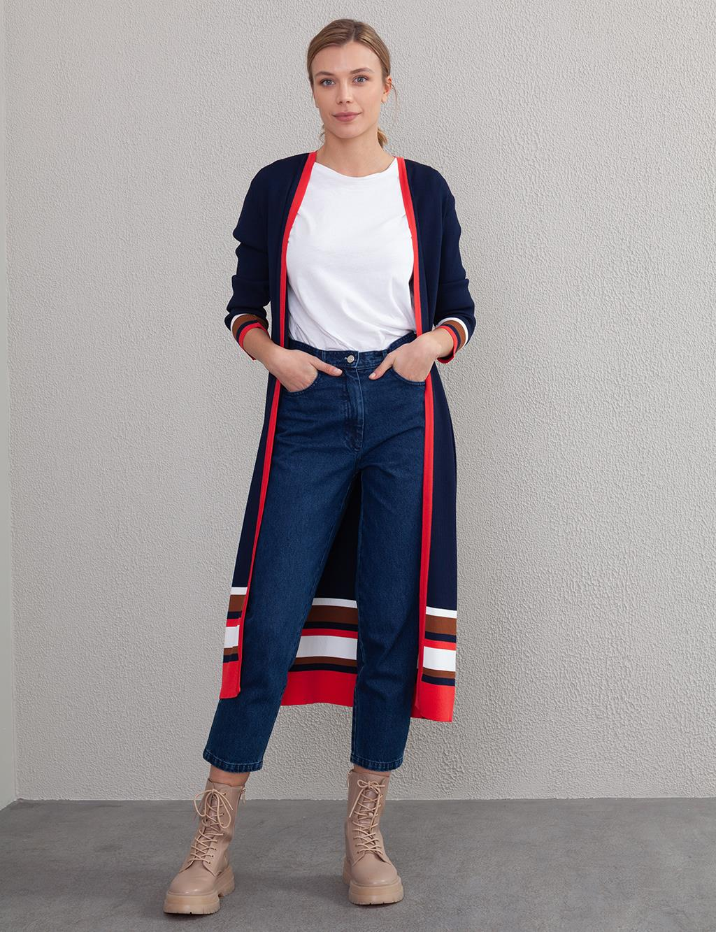 Striped Knit Cardigan A7 TRK01 Navy