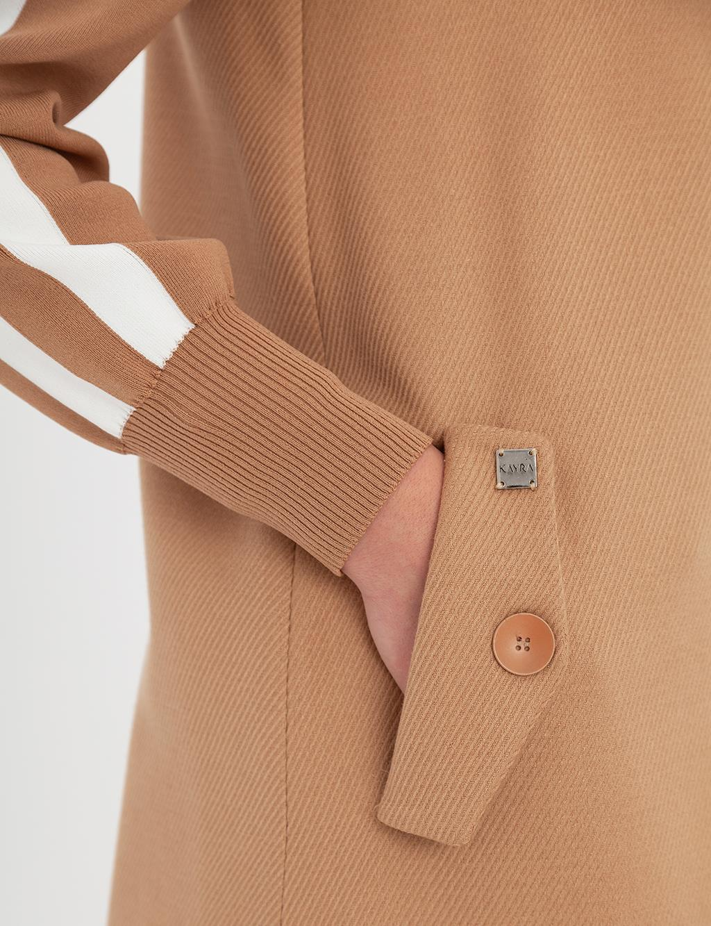 Ribbon Detailed Gabardine Manto A9 18002 Beige
