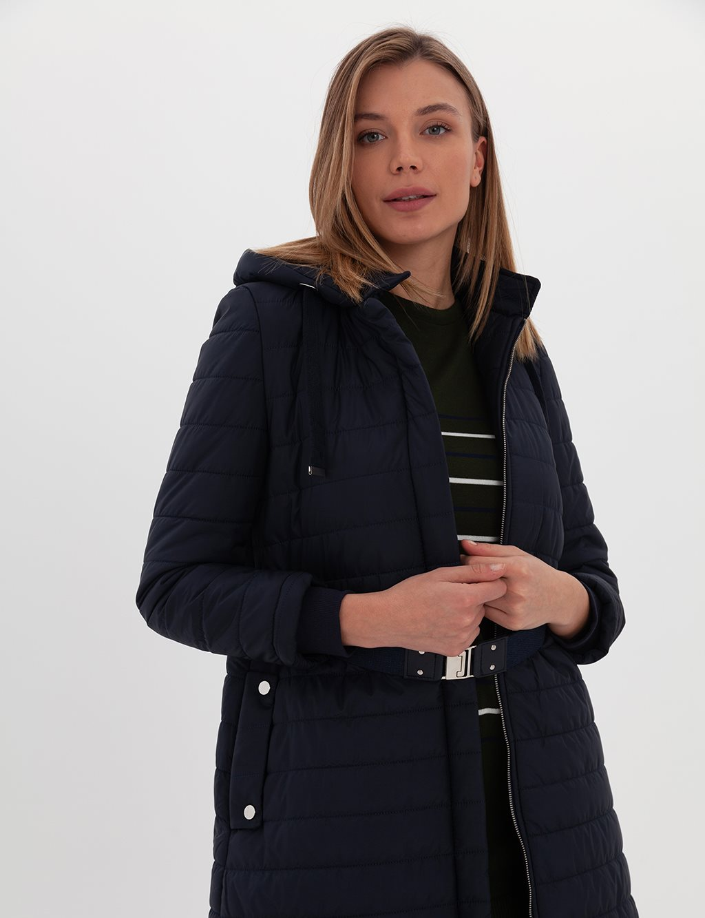 Quilted Long Coat A20 27131 Navy