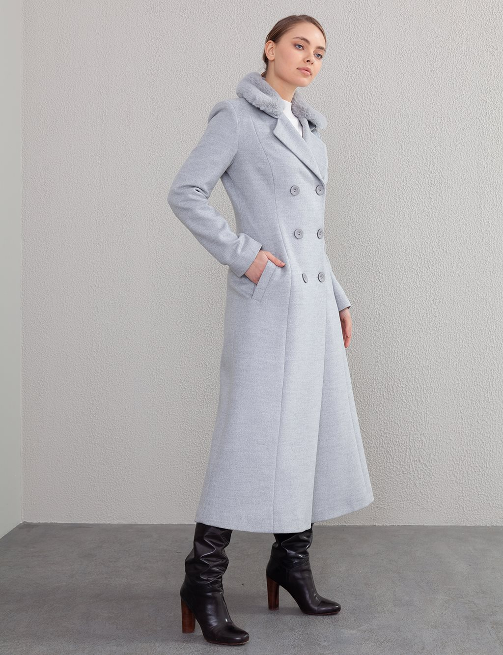Furry Double Breasted Coat A20 18004 Grey