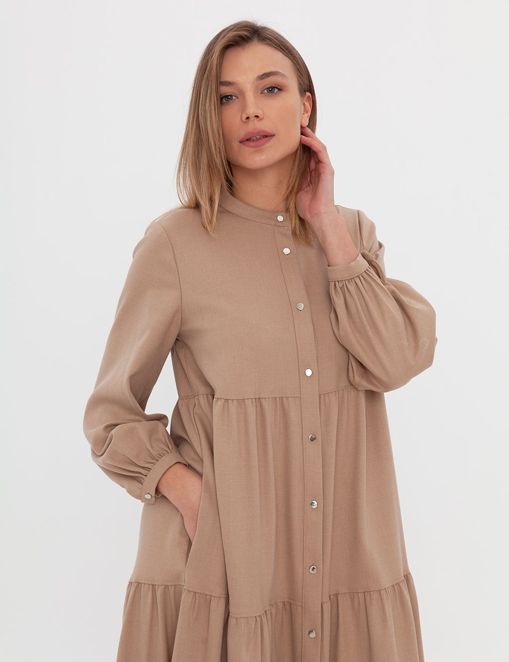 Piece Flounce Dress A20 23167 Beige