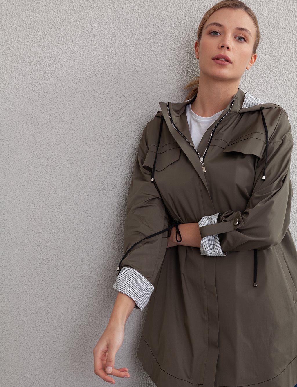 KYR Hooded Sport Trench Coat A20 74003 Green