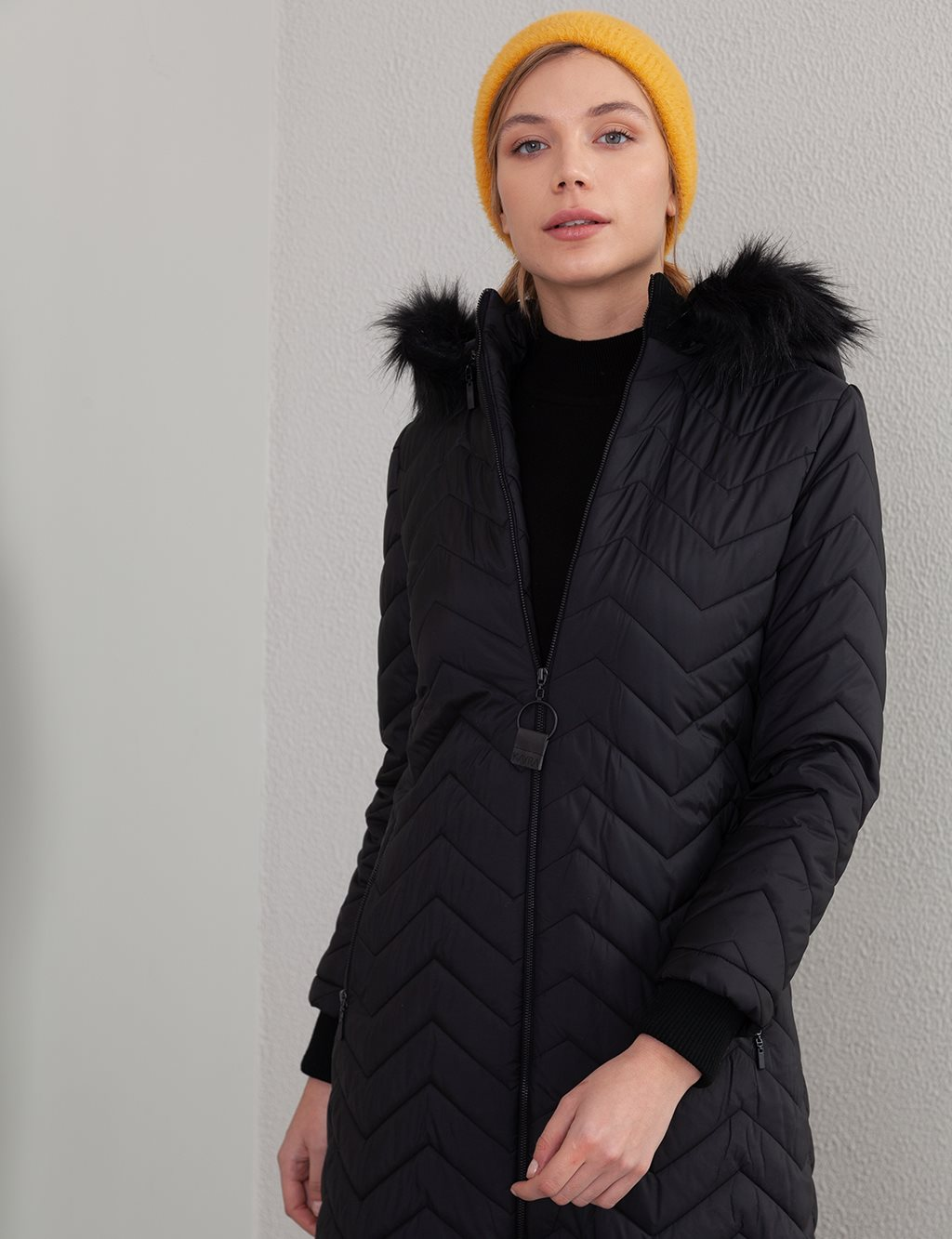 Quilted Long Coat A20 27101A Black