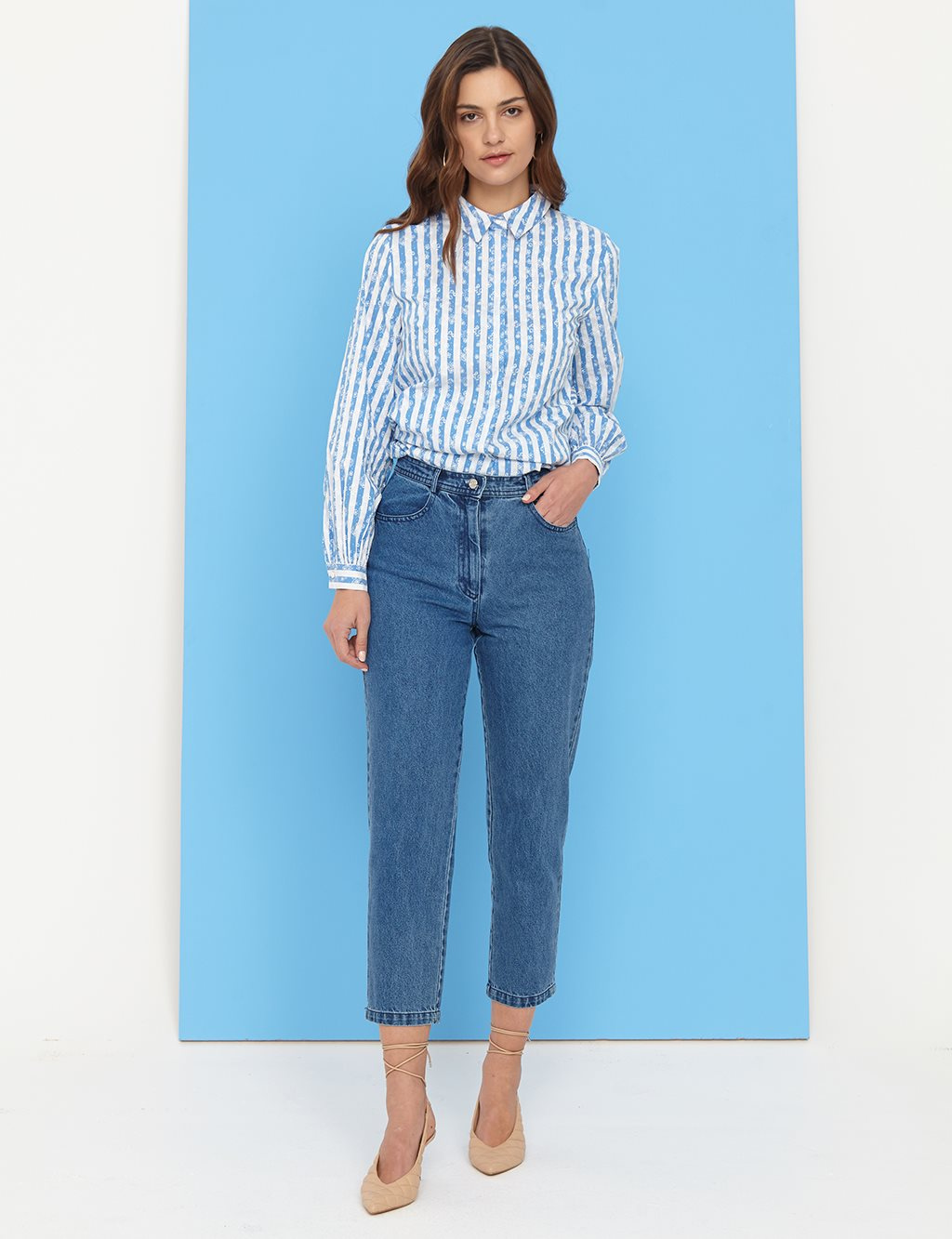 Basic Mom Jeans B21 19079A Indigo