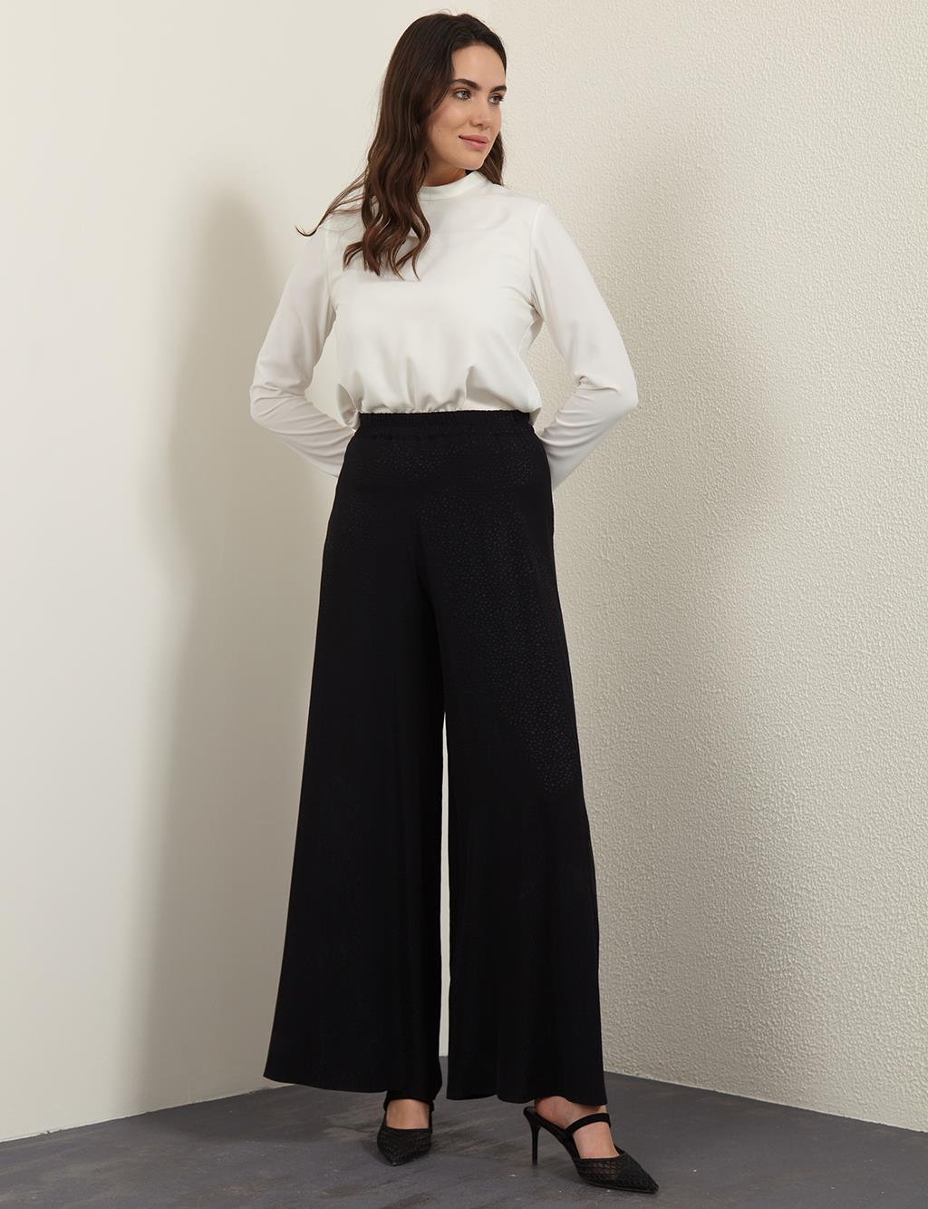 Textured Wide Leg Casual Fit Pants B21 19028A Black
