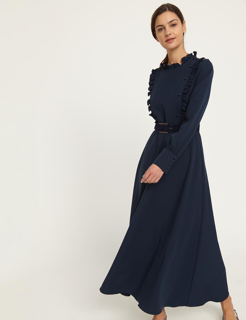 KYR Frilly Long Dress B21 83015 Navy