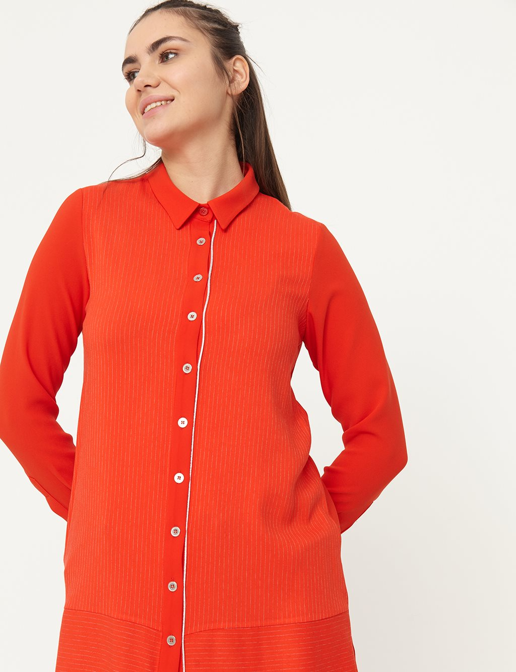 Piece Detailed Striped Tunic B21 81024 Red