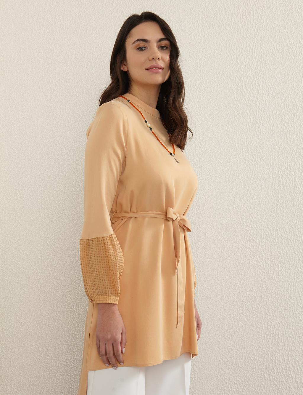Belted Round Neck Collar Tunic B21 21017 Beige