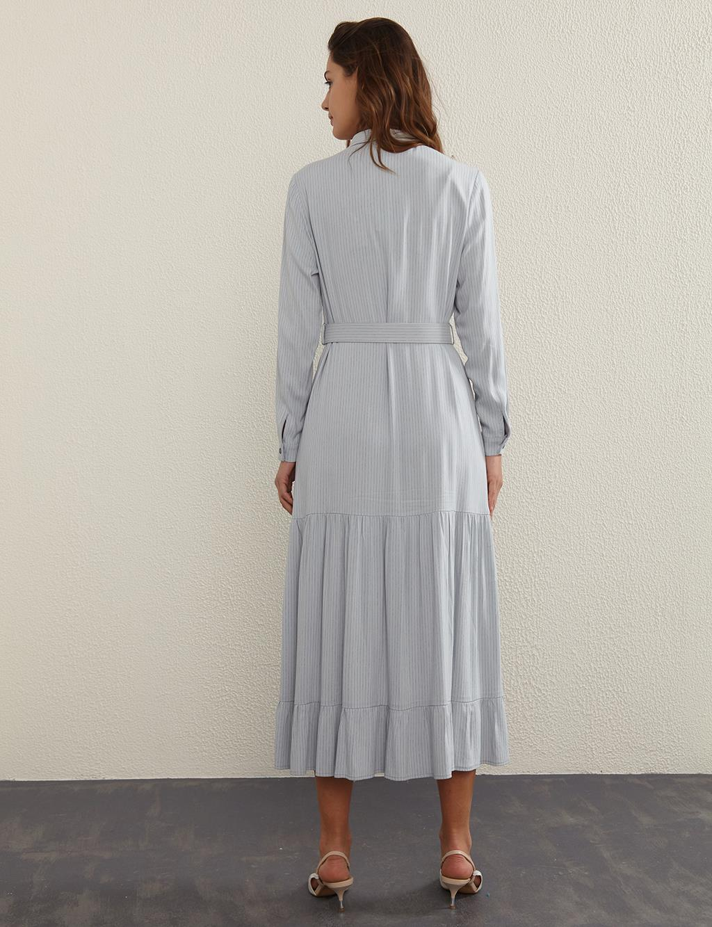 KYR Belted, Striped Dress B21 83009 Grey