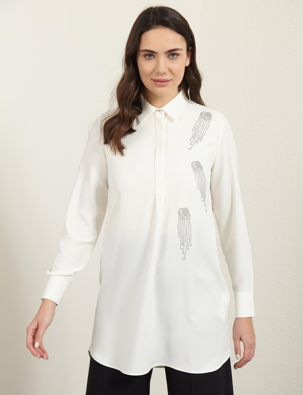 KYR Rhinestone Detailed Tunic B21 81018 Ecru