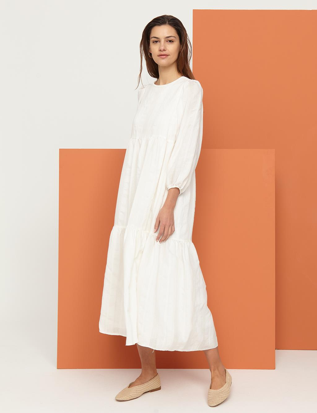 Round Neck Collar Dress B21 23035 Ecru