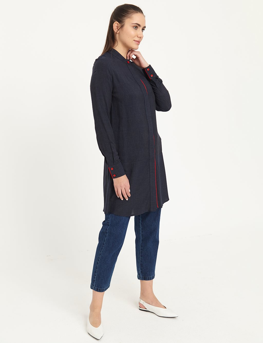 KYR Pave Color Grandad Collar Tunic B21 81031 Gray