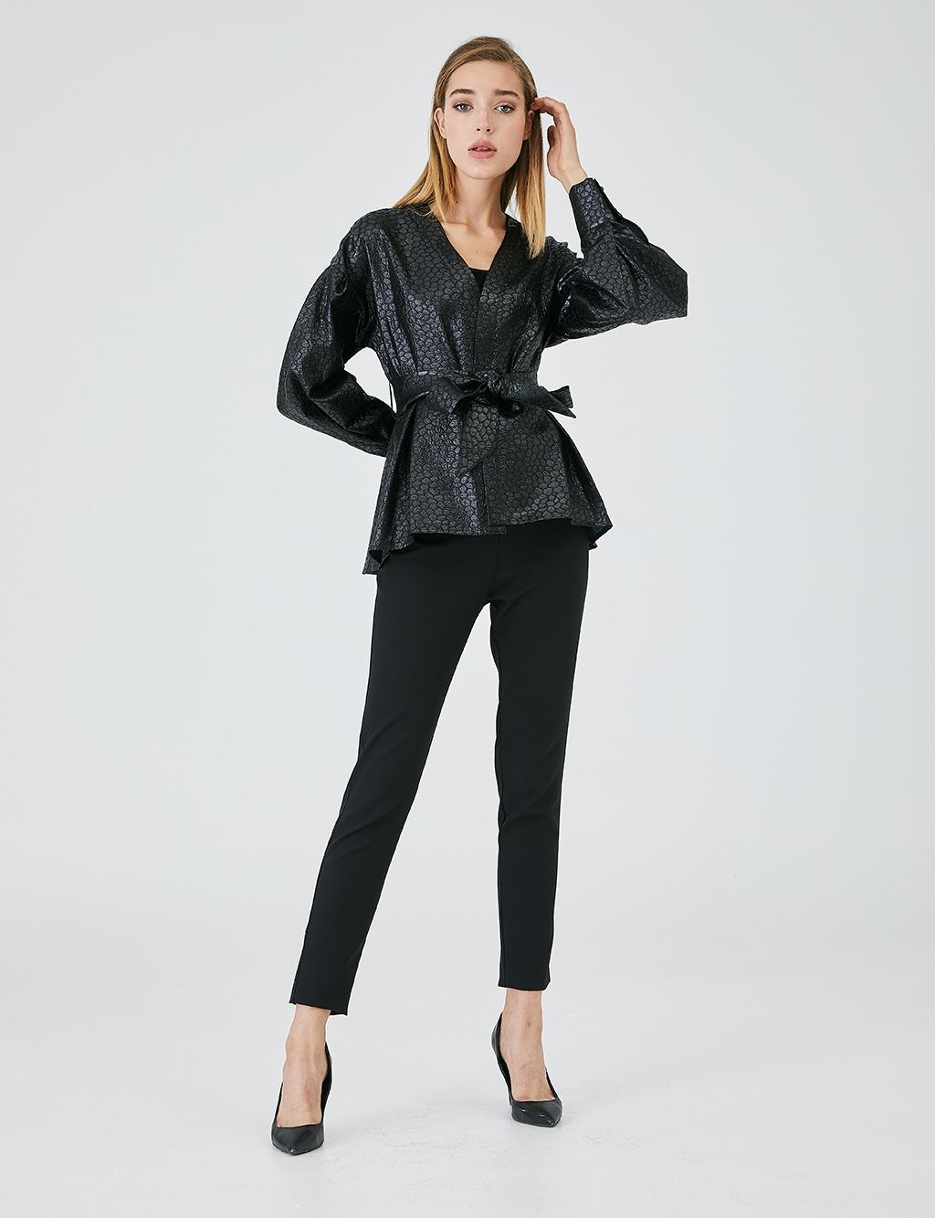 Jacquard Balloon Sleeve Jacket B20 13007 Black