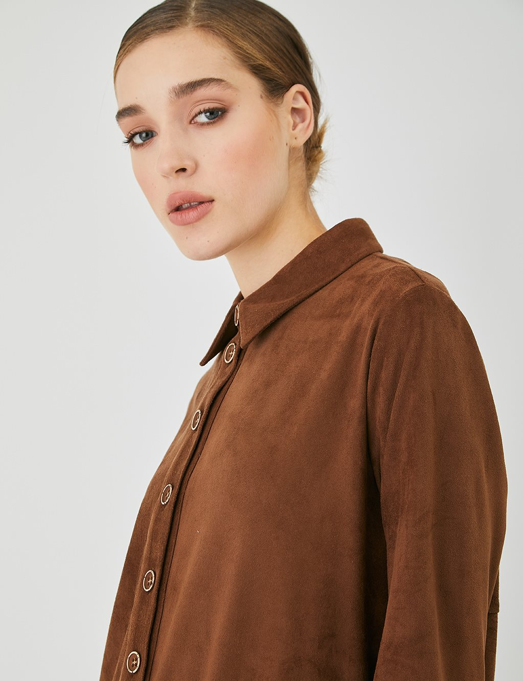 Asymmetric Cut Suede Tunic A20 21016 Tobacco