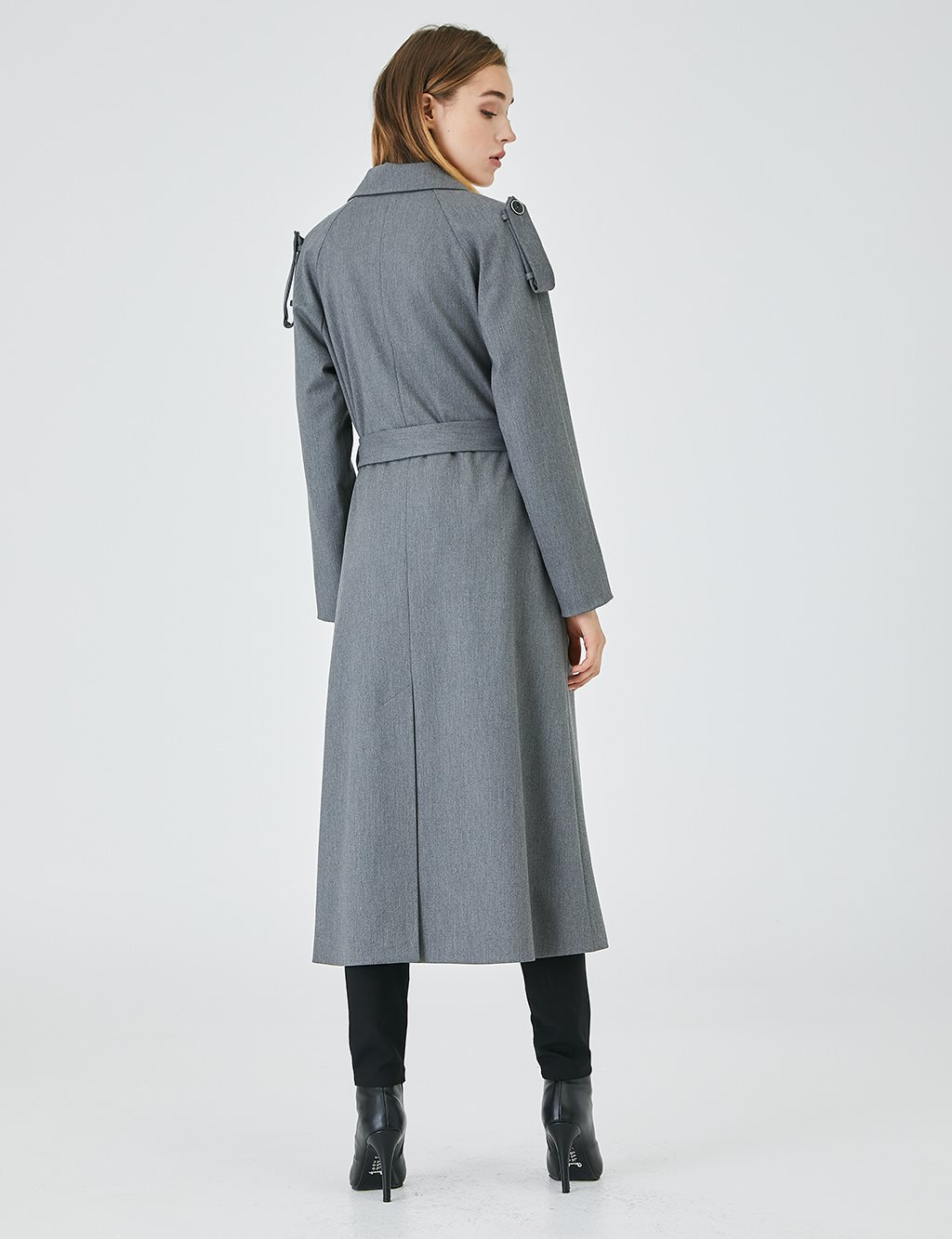 Epaulet Double Breasted Trench Coat A20 14002 Smoked