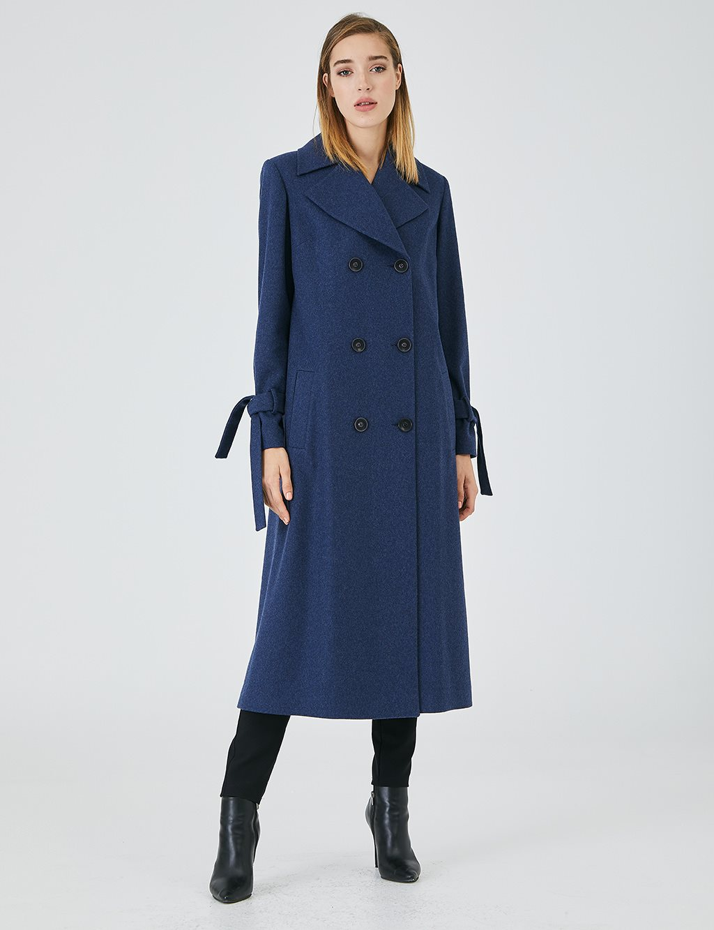 Wide Back Pleated Cachet Topcoat A20 15140 Indigo