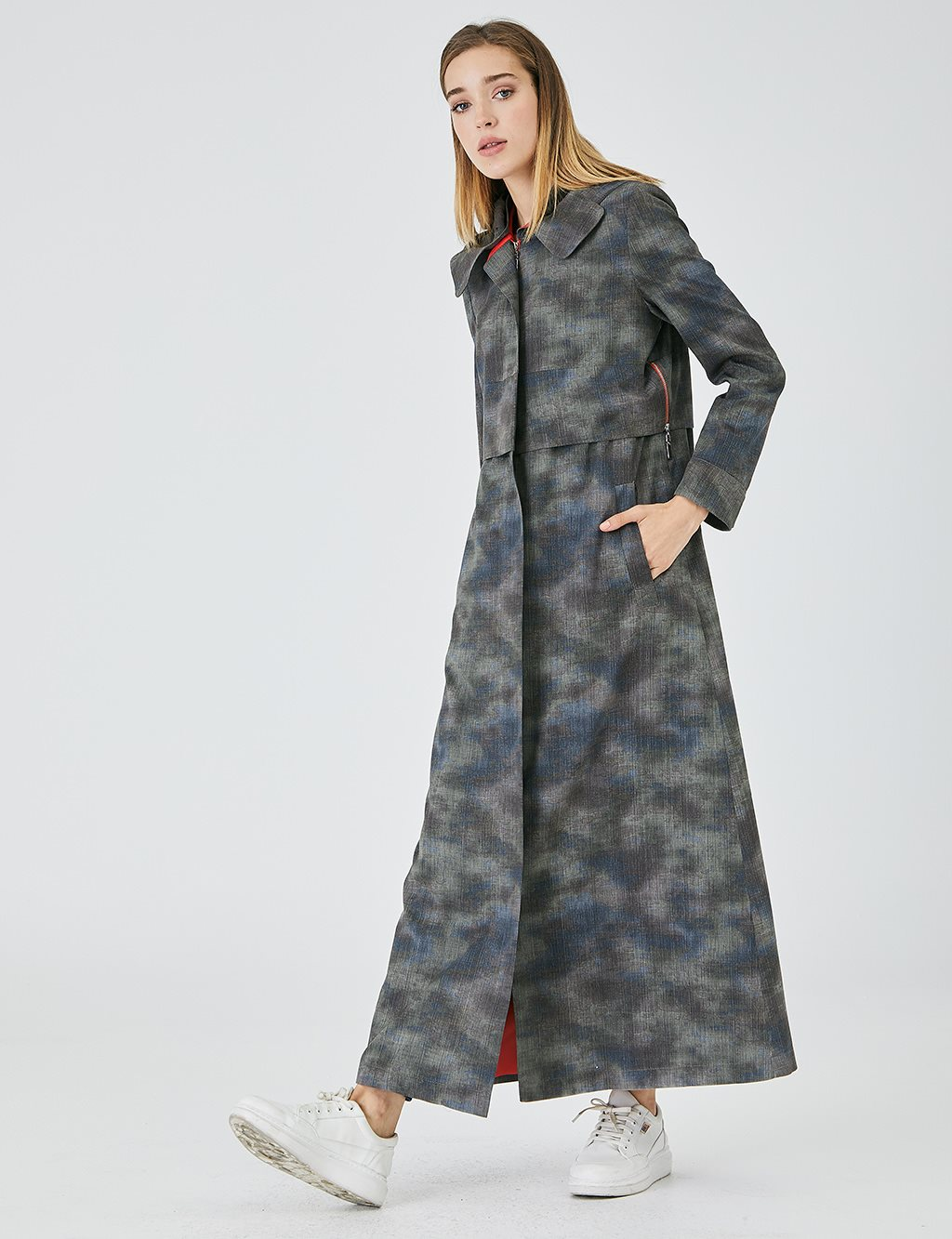 Camouflage Patterned Hooded Topcoat A20 15003 Smoked