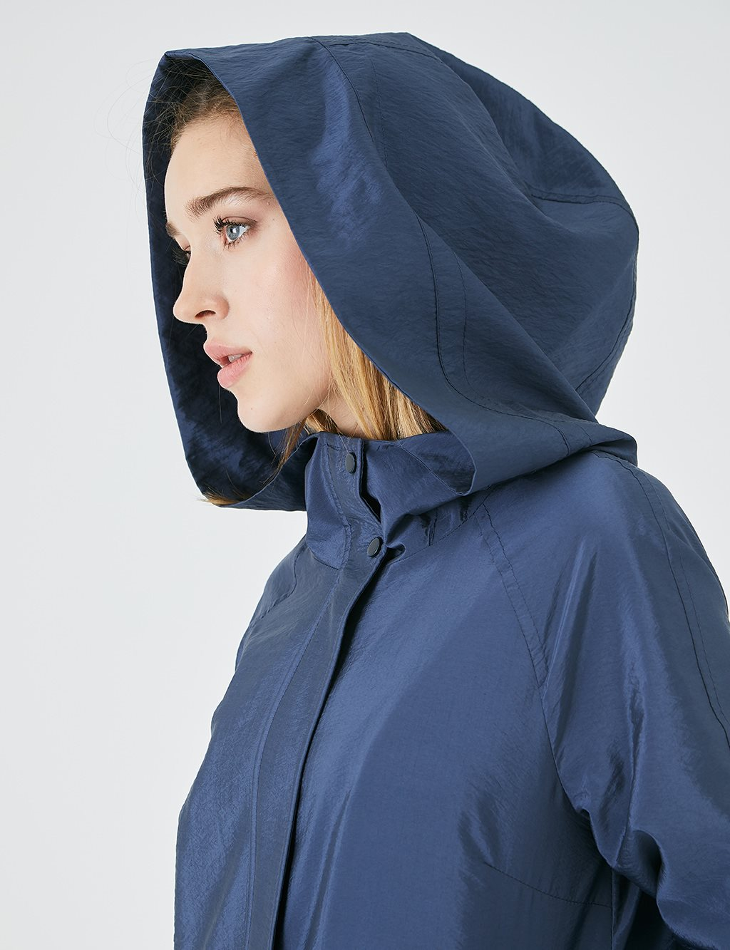 Snap Fastener Hooded Trench Coat A20 14040 Navy