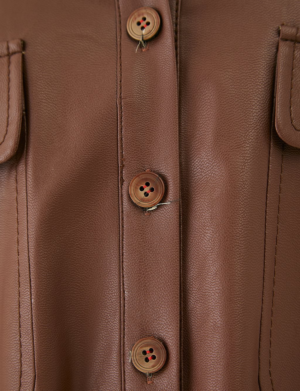 Embroidered Back Detailed Leather Tunic with Double Pocket A20 21152 Brown