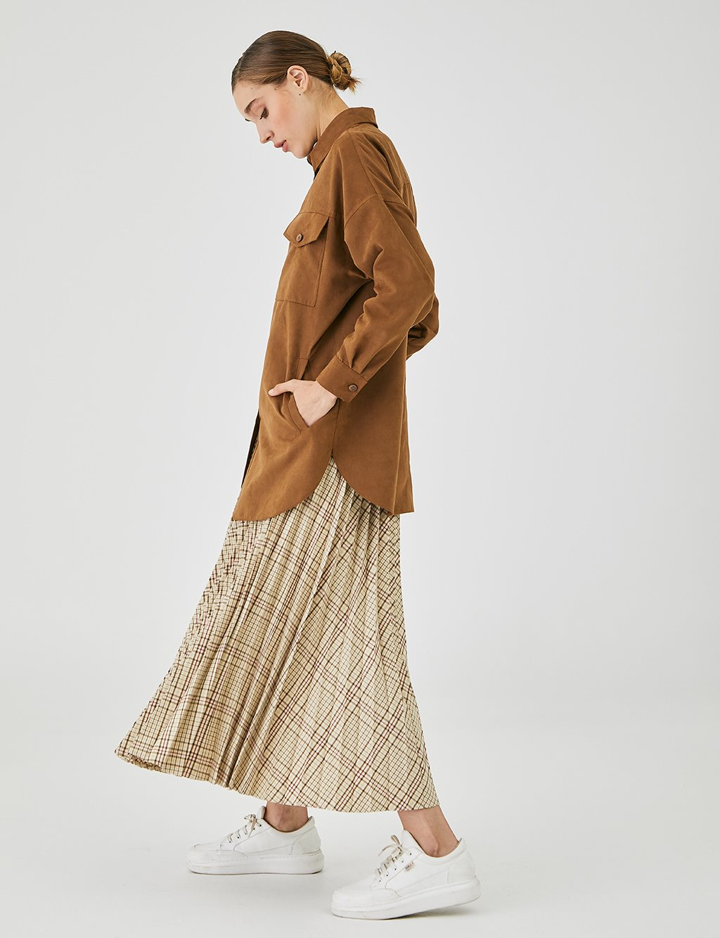 Oversized Suede Tunic With Double Pocket A20 21013 Cinnamon