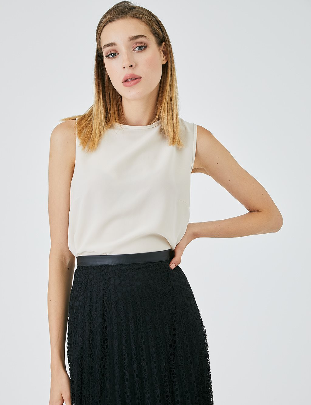 Pleated Mesh Skirt A20 12054 Black