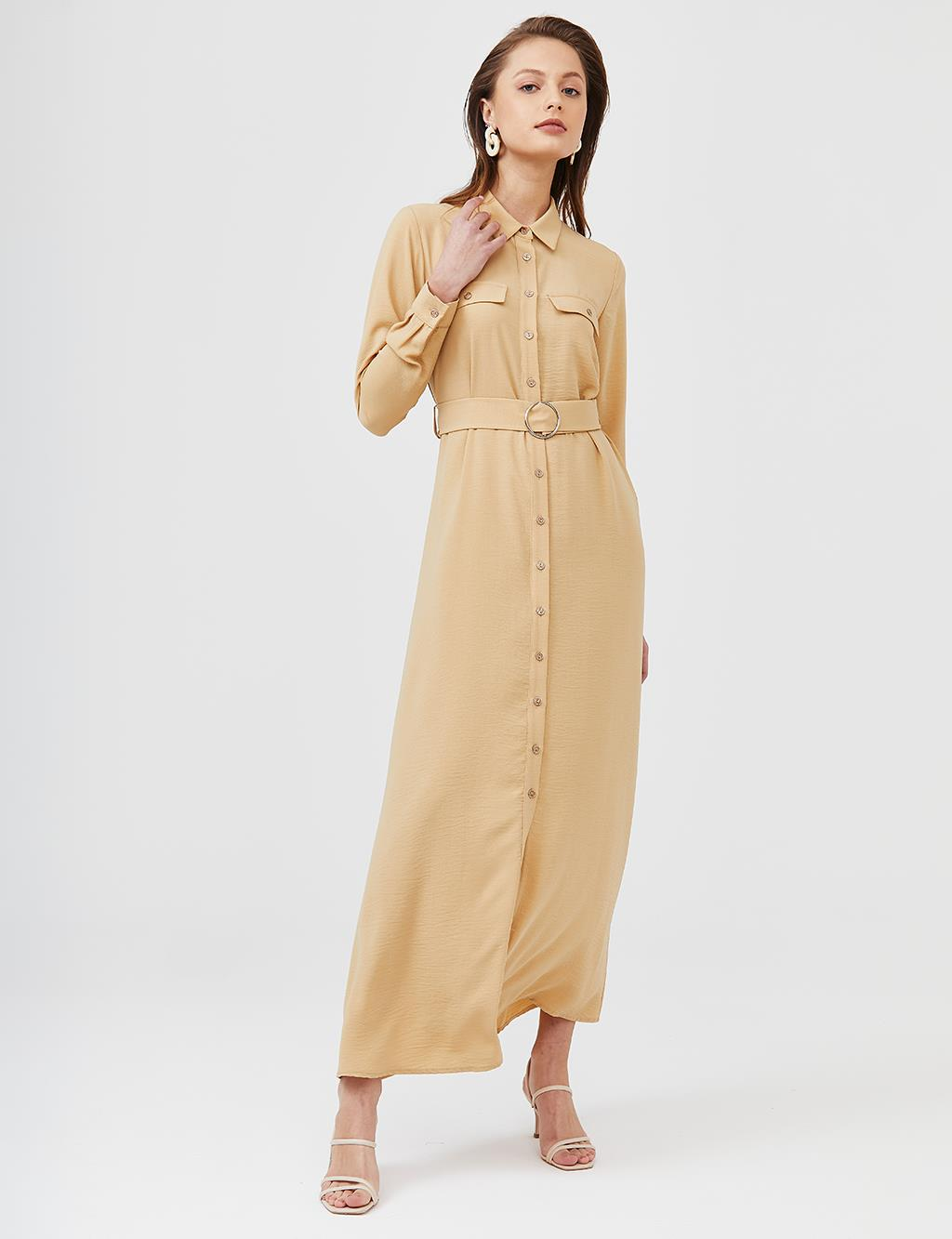 KYR Belted Maxi Dress B21 83016 Beige