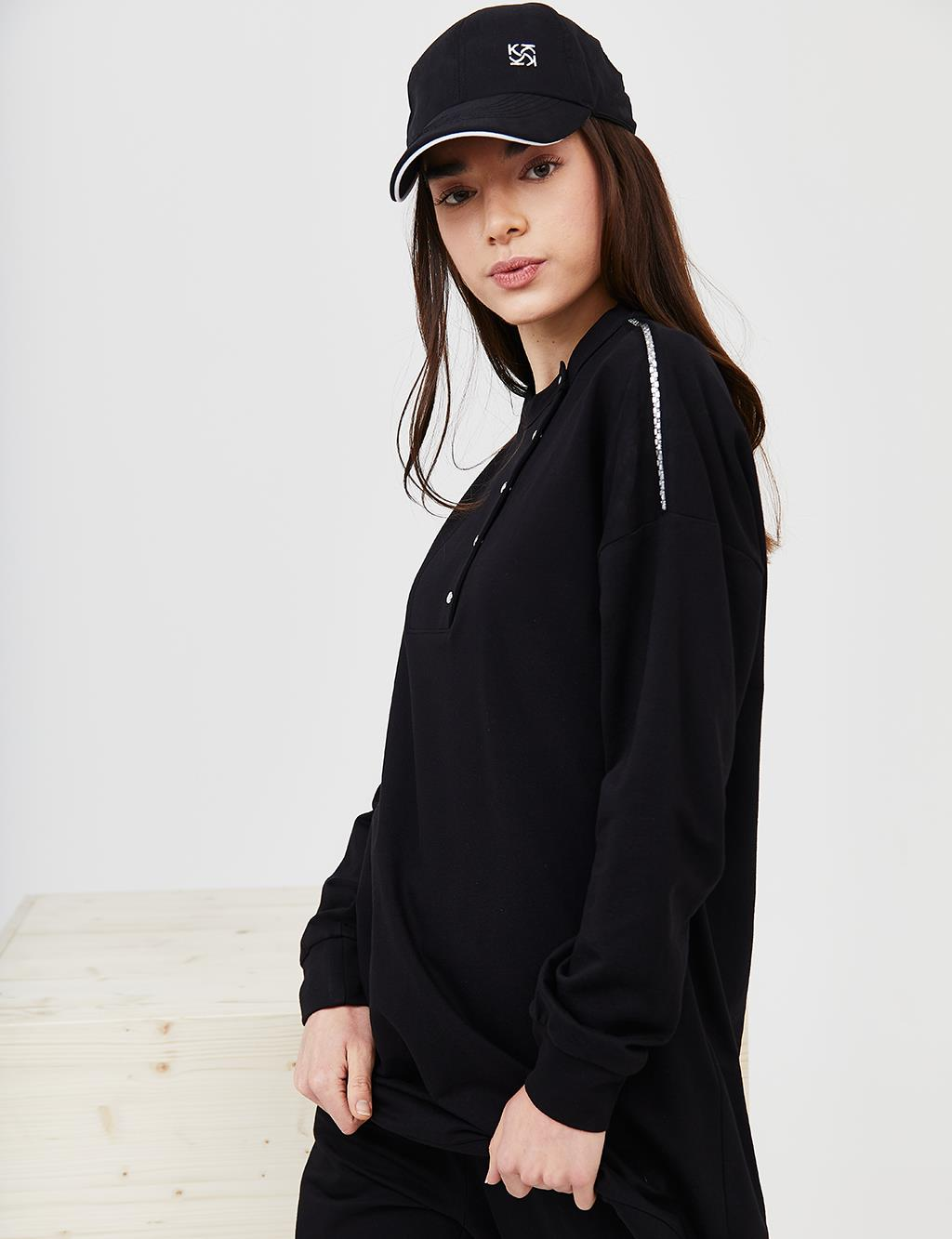 KYR Half Placket Sweatshirt B21 70011 Black