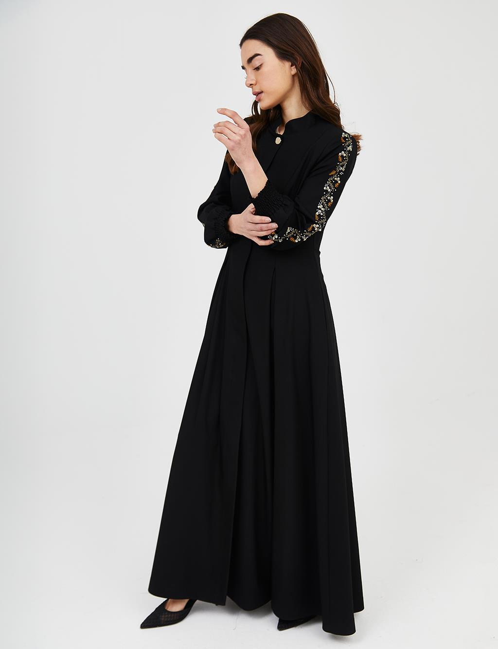 Embroidered Long Topcoat B21 15007 Black