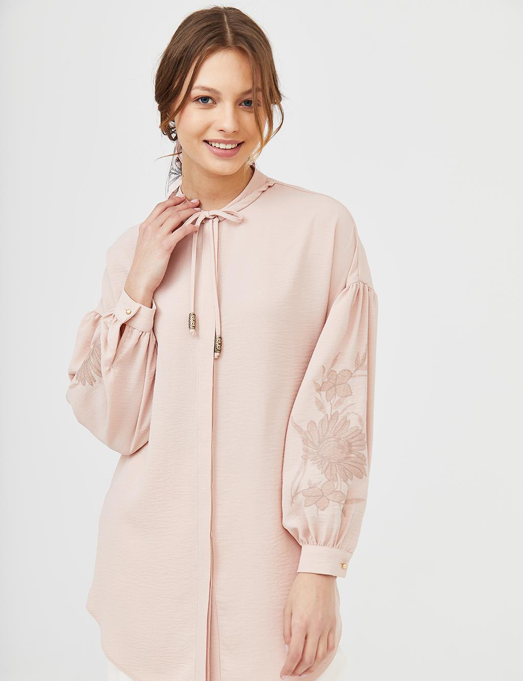 KYR Embroidered Balloon Sleeve Tunic B21 81009 Pink