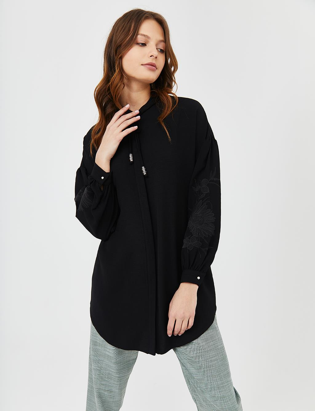 KYR Embroidered Balloon Sleeve Tunic B21 81009 Black