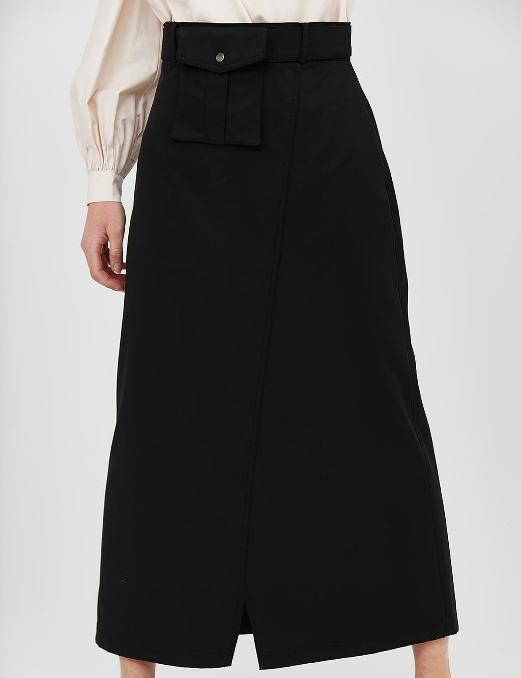 Kangaroo Pocket Cotton Skirt B21 12018 Black