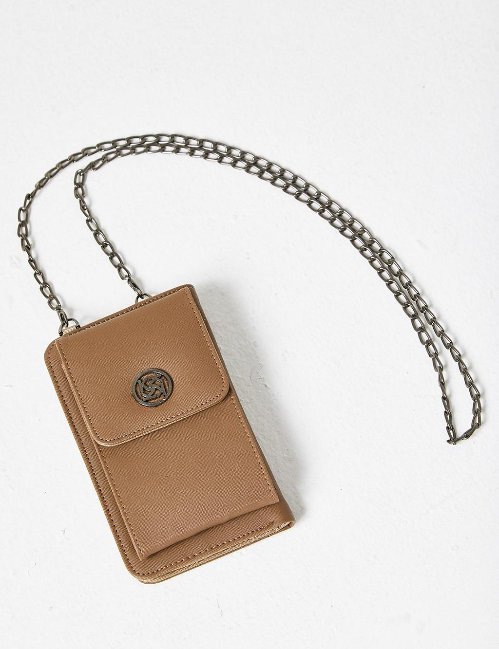 Covered Chain Strap Wallet B21 CZN03 Beige
